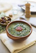 Caldo verde (potato and green kale soup, Portugal) with chorizo Stock Photos