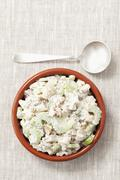 Grilled chicken, celery, walnut and mayonnaise spread Stock Photos