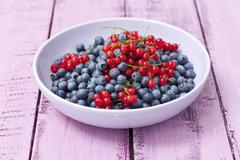 A bowl of redcurrants and blueberries Stock Photos