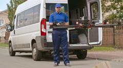 Deliveryman of the Future Stock Footage