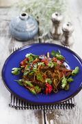 Pork fillet with spaghetti and rhubarb Stock Photos