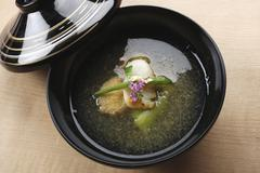 Dashi broth with vegetables (Japan) Stock Photos