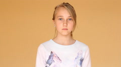 Girl portrays the sadness and disappointment. Stock Footage
