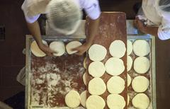 Unleavened bread being made Stock Photos