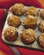 Classic wheat bran muffins with hazelnuts Stock Photos