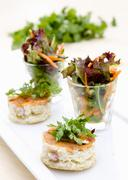 Mini quiches served with mixed leaf salad Stock Photos