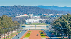 4k timelapse video of Parliament of Australia in Canberra Stock Footage