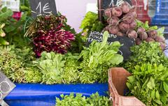 Leafy vegetables, root vegetables and fresh herbs on a vegetable stand Stock Photos