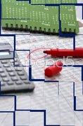 Calculator and Highlighter Stock Photos