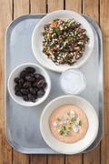 Greek mezze: taramasalata, olives and tabbouleh Kuvituskuvat