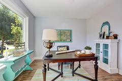 Home office interior. Vintage wooden desk in old style house. Northwest, USA Stock Photos