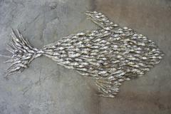 A fish shape of dried fish Stock Photos