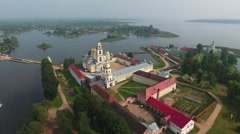 Aerial view on monastery and Seliger lake Stock Footage