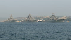 Parade of Russian military ships in the bay Stock Footage
