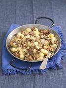 Gnocchi with chanterelle mushroom sauce Stock Photos