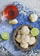Coconut and lime biscuits Stock Photos