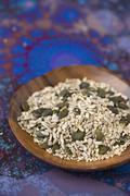 A mixture of various seeds (sunflower seed, pumpkin seeds, sesame seeds and Stock Photos
