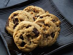 Peanut butter and chocolate chip cookies Stock Photos