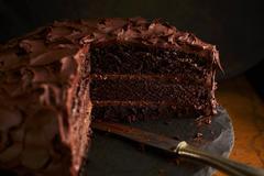 Creamy chocolate cake Stock Photos