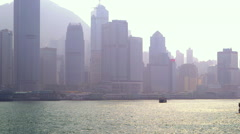 STAR FERRY SKYSRAPERS VICTORIA HARBOUR HONG KONG Stock Footage