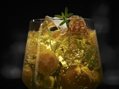 An exotic drink with honeycomb, kumquats, ice cubes and a herb garnish Stock Photos