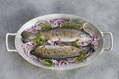 Fresh trout on red onions and rosemary Stock Photos