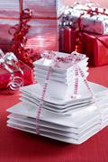 White crockery as a Christmas present Stock Photos