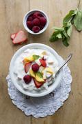 Fruit quark with mint Stock Photos