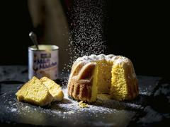 A cornflour cake with icing sugar Stock Photos