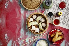 Dim sum, spring rolls, rice and sauces (China) Stock Photos