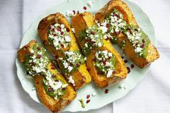 Baked butternut squash with feta cheese Stock Photos