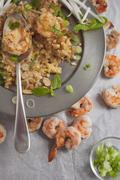 Pad Thai with prawns, bean sprouts, spring rolls and mint (seen from above) Stock Photos