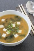 Miso soup with tofu, algae and spring onions Stock Photos