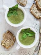 Vegan spinach cream soup Stock Photos