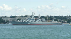 Missile cruiser - The flagship of the Russian Black Sea Fleet Stock Footage