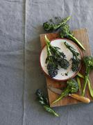 Fresh broccoli on a chopping board and on a plate (seen from above) Stock Photos