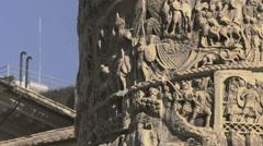 Column of Marcus Aurelius at Square Piazza Colonna in Rome, Italy Stock Footage