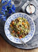 Pilau rice with beef and vegetables (seen from above) Stock Photos