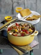Vegetable stew with turkey (Caribbean) Stock Photos