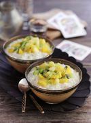 Rice pudding with fresh fruit Stock Photos
