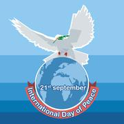 Vector International day of Peace. White dove with green branch on top of wor Stock Illustration