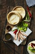 Peking duck with mini pancakes Stock Photos