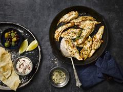 Chicken breast with tahini Stock Photos