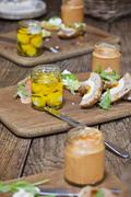 Scotch eggs on wooden chopping boards with sauce Kuvituskuvat