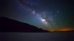 Astro Time Lapse of Milky Way over Badwater in Death Valley -Tilt Down- Stock Footage
