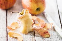 Royal Gala apples, one eaten Stock Photos