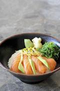 Salmon sashimi with takuan Stock Photos
