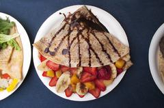 Crepes with fruit and chocolate sauce (Mexican Street food in Los Angeles, USA) Stock Photos