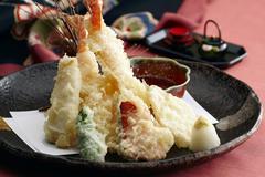Shrimp tempura with dip (Japan) Stock Photos