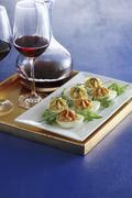 Devilled eggs on a serving platter Stock Photos